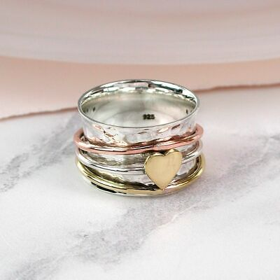 £35 • Buy 925 Sterling Silver Triple Band Spinning Ring With Brass Heart Thumb Fidget