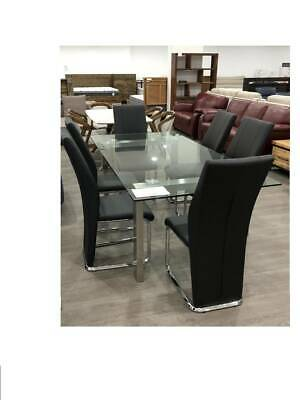 AU990 • Buy Glass Dining Table And Black Chairs