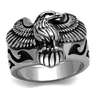 £14.99 • Buy Mens Eagle Ring Stainless Steel No Stone Biker Goth Signet Pinky Mans New 2319