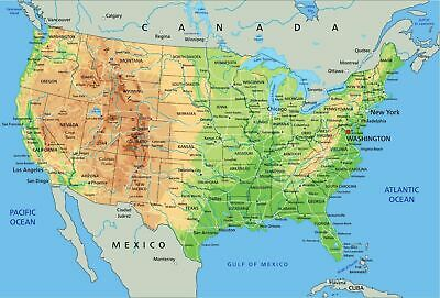 AU22.90 • Buy High Detailed United States Of America Physical Map  Poster 91x61cm  Educational