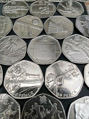 London Olympics 2012 Football Offside Judo Triathlon 2011 50p Fifty Pence Coins • 2.69£