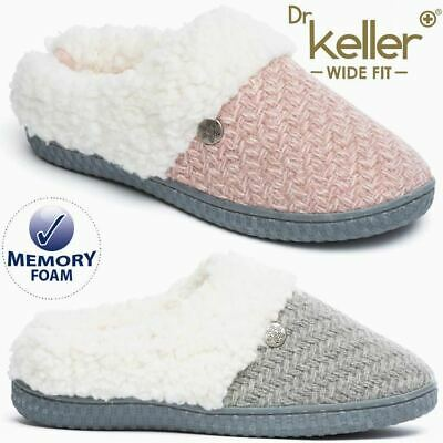 Ladies Wide Fit Slippers Faux Suede Warm Fur Winter Diabetic Orthopaedic Shoes • 13.95£