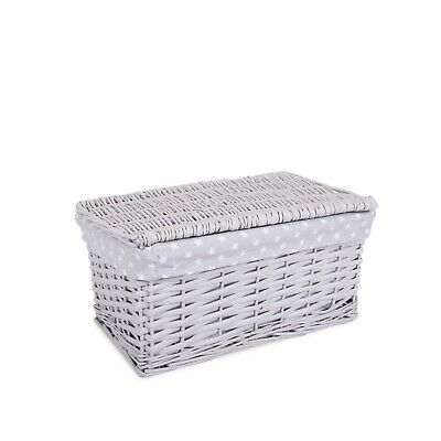 Mini Size Grey Painted Wicker Storage Basket Shelf  Basket With Lid Gift Hamper • 13.99£