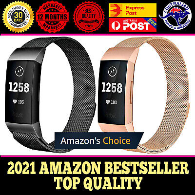 AU12.95 • Buy For Fitbit Charge 3 Band Metal Stainless Steel Milanese Loop Wristband Strap NEW