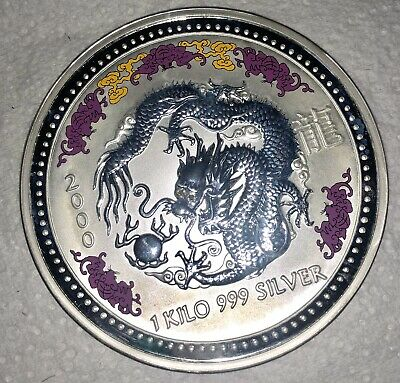 AU2800 • Buy  2000 Year Of The Dragon With Diamond Eyes Very 1kg Silver Coin Rare Collections