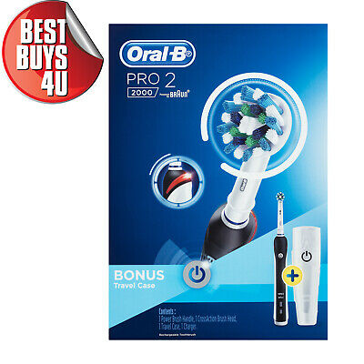 AU87.78 • Buy Oral-b Pro 2 2000 Black Electric Toothbrush + Travel Case