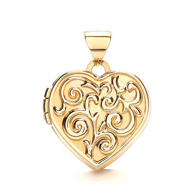 9ct Yellow Gold Heart Shaped Locket - 20 X 15.75 Mm - Fully  Hallmarked • 109.90£