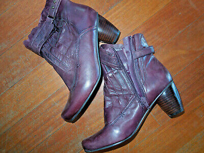 $50 • Buy Everybody Leather Anthropologie Boots Aubergine Side Zip Pleated Detail 39