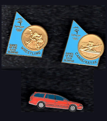 Olympic Pin Badges 2000 Sydney Australia  Gold Coin Pins & Torch Relay Car • 8.50£