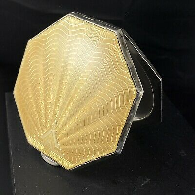 Art Deco Sterling Silver Gold Guilloche Enamel Compact William Neal Birmingham • 136.77£