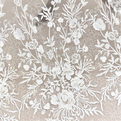 £14.99 • Buy Blossom Beaded Bridal Lace Fabric Off White Embroidery Wedding Dress Trim 0.5 M