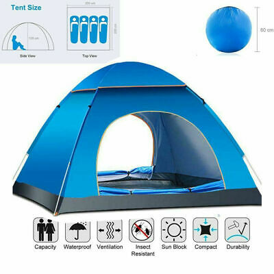£18.99 • Buy Large Pop Up Tent Automatic 3-4 Man Person Family Tent Camping Festival Shelter