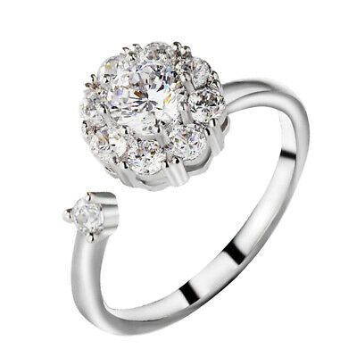 Women's Adjustable Rotating Ring Anti-Anxiety Open Crystal Spinning Ring • 3.84£