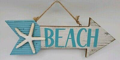Blue Beach Arrow Starfish Wood Metal Nautical Sign Home Beach House Decor • 15.99$