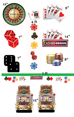 $14.99 • Buy CASINO NIGHT Decorating Kit Party Room Decorations Cards Chips Poker Slots Table