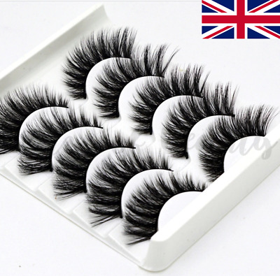 5 Pairs XL Layered Wispies Eyelashes Long 3D Mink Fluffy Extra Wispy Volume UK  • 3.99£