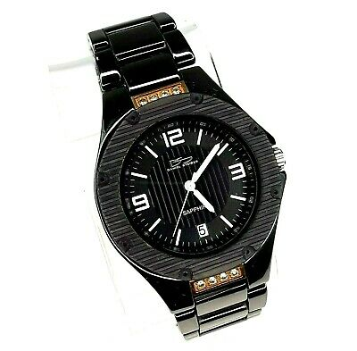 Daniel Steiger Mens Black Sapphire Date Watch 9097K-M Cobra Hi Tech Ceramic • 38.21$