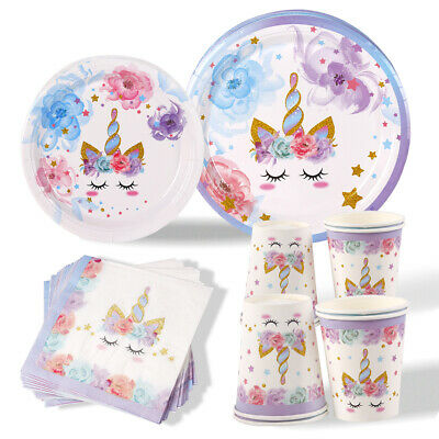 £6.99 • Buy Unicorn Party Tableware Set Kids Happy Birthday Party Supply Home Table Decor