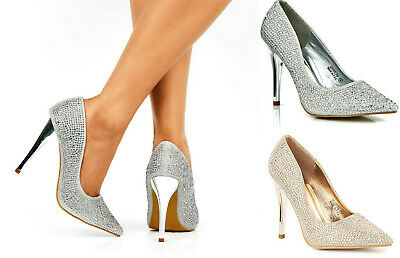 £21.99 • Buy New Ladies High Heel Party Evening Diamante Pointed Slip On Court Shoes 3-8