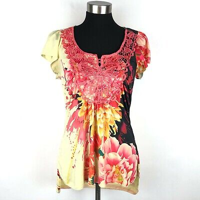 $9 • Buy One World Live And Let Live Womens Small Yellow Vibrant Flower Print Blouse