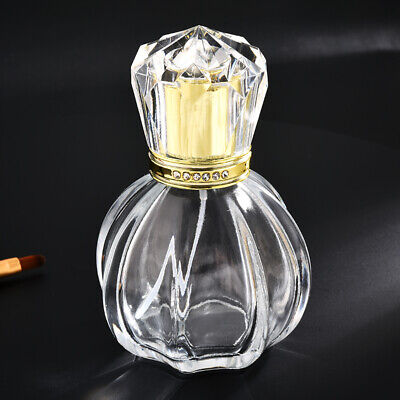 50ml Empty Glass Perfume Spray Bottle Atomizer Refillable Crystal Cap Gold Oval • 7.25£
