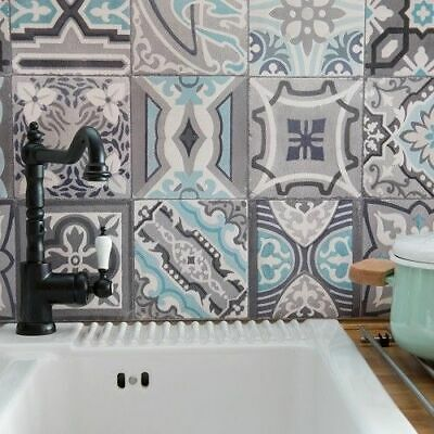 £8.50 • Buy 1M UP TO 20M X 67.5cm BATHROOM KITCHEN WASHABLE GREY MOROCCAN TILE WALLPAPER