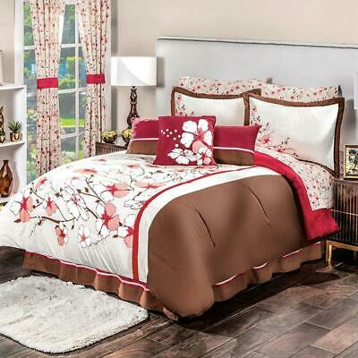 $213.94 • Buy Red Blossom COMFORTER REVERSIBLE AND SHEET Set FULL SIZE Perfect Decoration