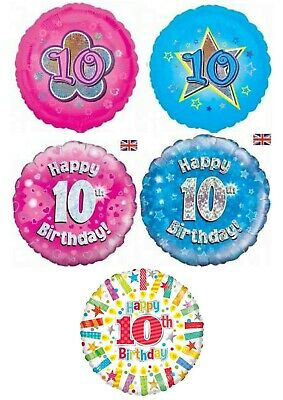 Happy 10th Birthday & Anniversary Balloons Party Ware Decoration Novelty Helium • 3£