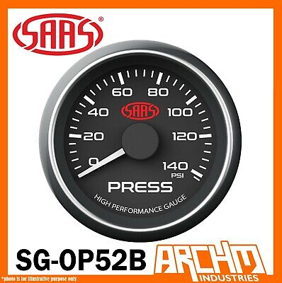 AU70.75 • Buy SAAS 0-140 PSI Oil Pressure 52mm Gauge Black Dial Face Includes Sender SG-OP52B