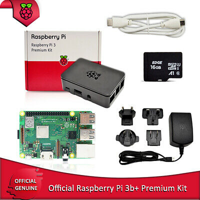 AU101.51 • Buy Raspberry Pi 3B+ Premium Kit With Official Power Supply HDMI Cable 16 GB TF Card