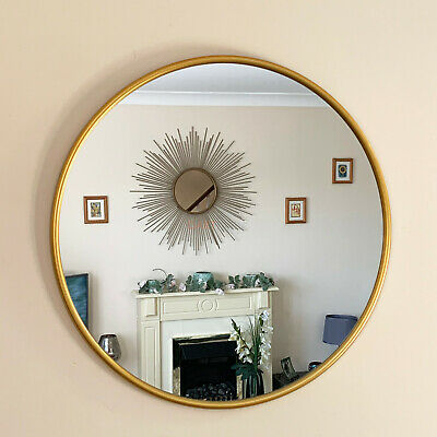Industrial Gold Round Frame Home Bathroom Glass Wall Mounted Vanity Mirror 50cm • 21.99£
