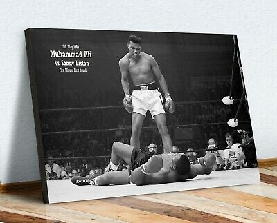 Muhammad Ali Sonny Liston VINTAGE BOXING CANVAS WALL ART PRINT PICTURE ARTWORK • 12.99£