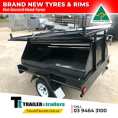 AU2100 • Buy 7x5 SINGLE AXLE TRADESMAN TRAILER SALE | 600mm TOOL BOX TOP + NEW TYRES