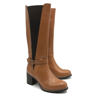 Womens Tan Leather Long Boots Ladies Winter Riding Chelsea Heel Size Brown Shoes • 59.99£