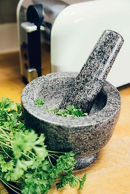 £14.49 • Buy Homiu 14cm Pestle And Mortar With Base, Easy Grip, Stone Effect Polished Granite