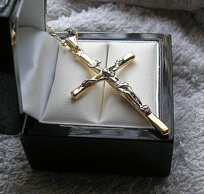 £24.95 • Buy LARGE 9ct Gold Gf Crucifix Cross And Chain Necklace OVER 1,100 SOLD (58)