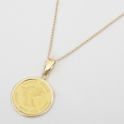$275 • Buy 24K Solid Fine Gold Swiss Angel Coin Pendant 10K Yellow Gold Cable Chain 17.75""