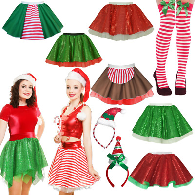 Plus Size ELF COSTUME Skirt CHRISTMAS Fancy Dress Santa CANDY CANE Costume Skirt • 9.99£
