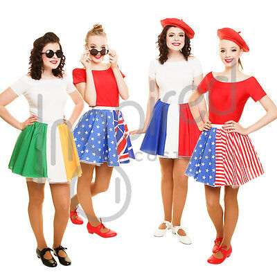 Plus Size Flag Skater Panel Skirt OLYMPICS WORLD FLAG DAY Fancy Dress FRANCE UK • 7.99£
