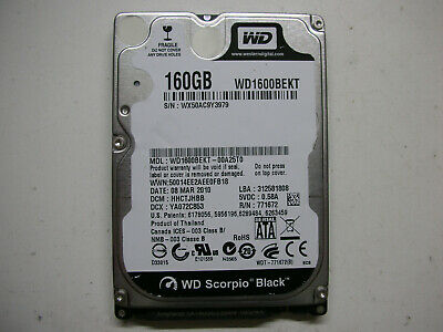 AU16.67 • Buy WD Scorpio Black 160gb WD1600BEKT-00A25T0 2061 771672 E04 03PD3 HDD 2,5   SATA