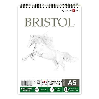 £4.99 • Buy A5 200gsm BRISTOL Board Sketch Pad White Drawing Artist Paper On SPIRAL Book