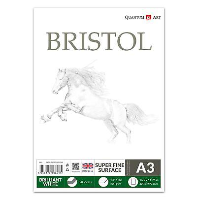 A3 200gsm BRISTOL Board Sketch Pad White Drawing Artist Paper GUMMED Book • 7.99£