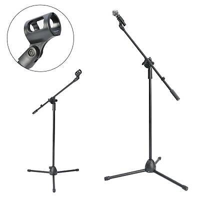 Adjustable Microphone Stand Boom Arm Bulk Package Studio Tripod  Mic Clip Black • 9.59£