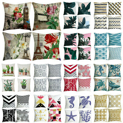 "Set Of 4 Printed Throw Pillow Case Waist Cushion Cover 18"" X 18"" Home Decoration • 7.32£"