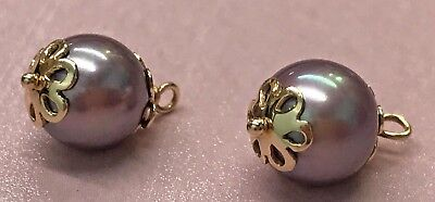 Pandora | 14k Gold Lilac Pearl Earrings ✪new✪ 250412plp Retired Authentic Rare  • 157.70£