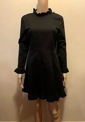 $14.99 • Buy Zara Woman Size S Solid Black Long Sleeve Dress New