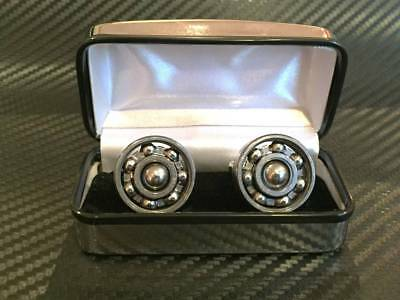 £9.95 • Buy Quality Mens Cufflinks Steampunk Spinning Bearings In Chrome Gift Box Free P&p