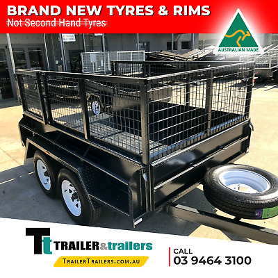 AU4030 • Buy 9x5 TANDEM AXLE BOX TRAILER 15  HIGH SIDES + 2FT HEAVY DUTY CAGE + SPARE +JOCKEY