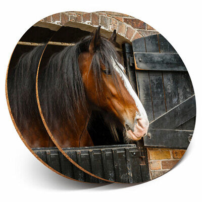 2 X Coasters - Shire Horse Stable Animal Nature Home Gift #12685 • 5.99£