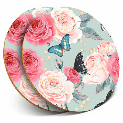 2 X Coasters - Pink Roses Butterfly Flower Vintage Home Gift #14243 • 5.99£
